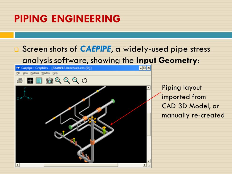  Screen shots of CAEPIPE, a widely-used pipe stress analysis software, showing the Input Geometry: Piping layout imported from CAD 3D Model, or manua