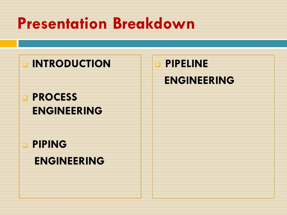 Presentation Breakdown  INTRODUCTION  PROCESS ENGINEERING  PIPING ENGINEERING  PIPELINE ENGINEERING