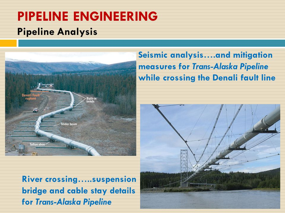 PIPELINE ENGINEERING Pipeline Analysis River crossing…..suspension bridge and cable stay details for Trans-Alaska Pipeline Seismic analysis….and mitig
