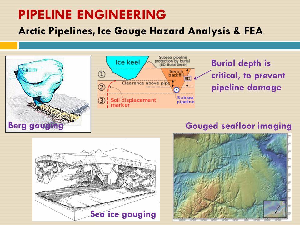 PIPELINE ENGINEERING Arctic Pipelines, Ice Gouge Hazard Analysis & FEA Burial depth is critical, to prevent pipeline damage Gouged seafloor imaging Berg gouging Sea ice gouging