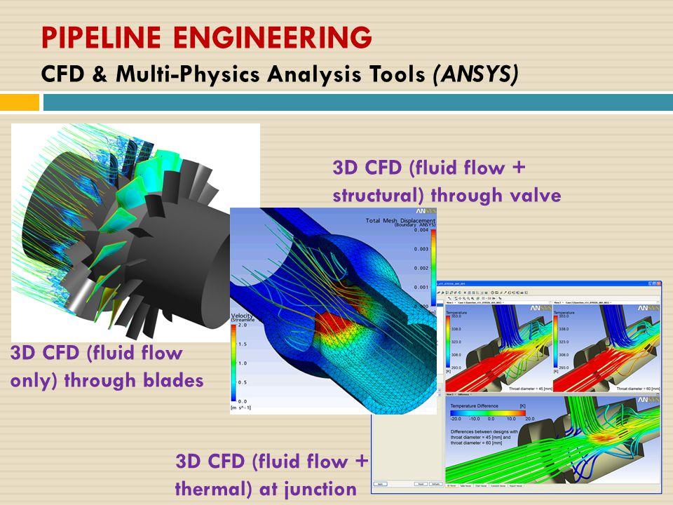 PIPELINE ENGINEERING CFD & Multi-Physics Analysis Tools (ANSYS) 3D CFD (fluid flow + thermal) at junction 3D CFD (fluid flow + structural) through valve 3D CFD (fluid flow only) through blades