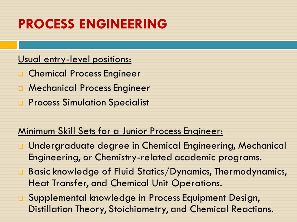 PROCESS ENGINEERING Usual entry-level positions:  Chemical Process Engineer  Mechanical Process Engineer  Process Simulation Specialist Minimum Skill Sets for a Junior Process Engineer:  Undergraduate degree in Chemical Engineering, Mechanical Engineering, or Chemistry-related academic programs.