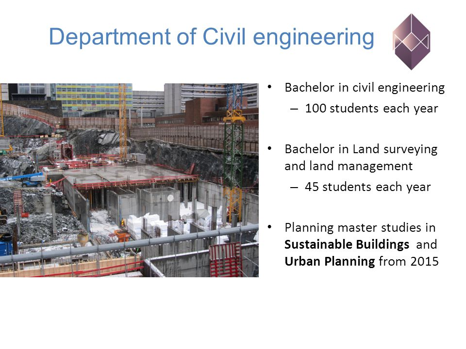 Bachelor in civil engineering – 100 students each year Bachelor in Land surveying and land management – 45 students each year Planning master studies in Sustainable Buildings and Urban Planning from 2015 Department of Civil engineering