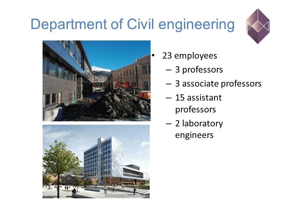 23 employees – 3 professors – 3 associate professors – 15 assistant professors – 2 laboratory engineers Department of Civil engineering