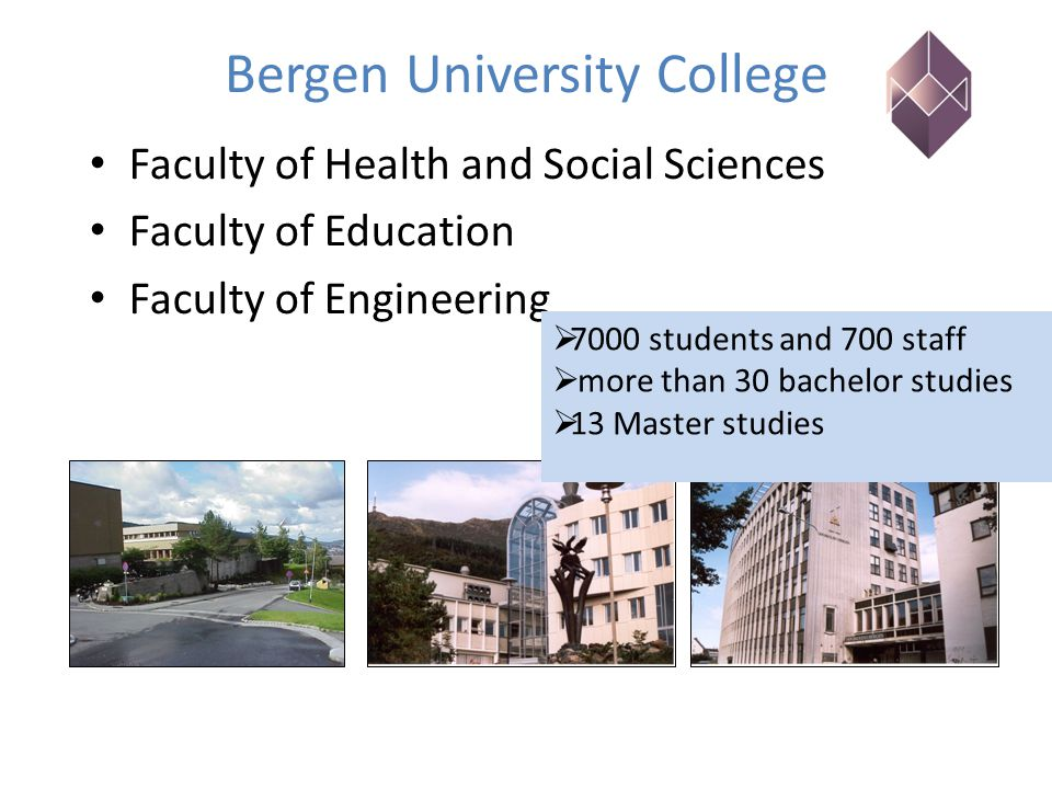 Bergen University College Faculty of Health and Social Sciences Faculty of Education Faculty of Engineering  7000 students and 700 staff  more than 30 bachelor studies  13 Master studies