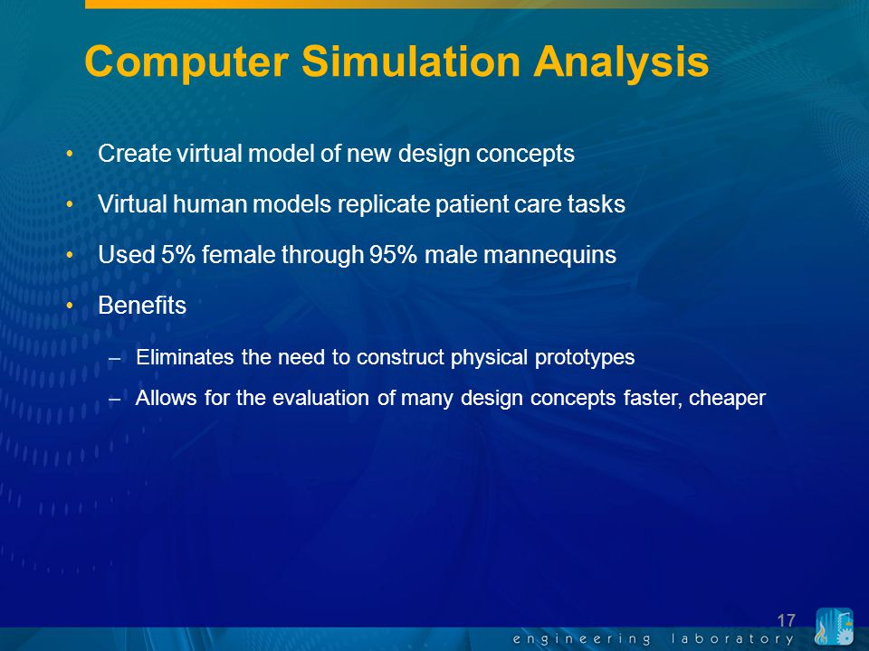 Computer Simulation Analysis Create virtual model of new design concepts Virtual human models replicate patient care tasks Used 5% female through 95%
