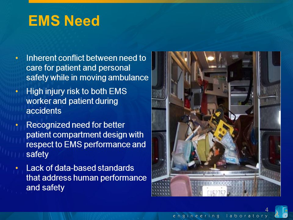 Project Goal Goal: Provide foundation for a uniform standard for ambulance design and construction based on scientific data.