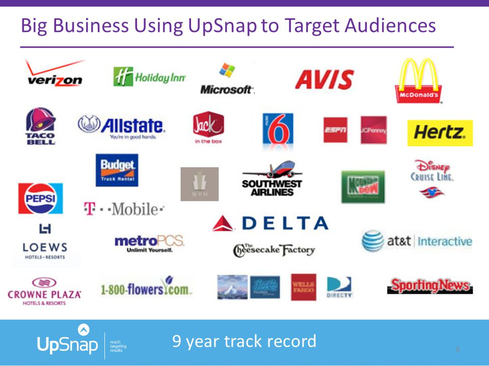 6 Big Business Using UpSnap to Target Audiences 9 year track record