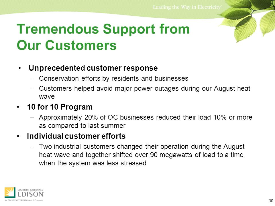 Tremendous Support from Our Customers Unprecedented customer response –Conservation efforts by residents and businesses –Customers helped avoid major power outages during our August heat wave 10 for 10 Program –Approximately 20% of OC businesses reduced their load 10% or more as compared to last summer Individual customer efforts –Two industrial customers changed their operation during the August heat wave and together shifted over 90 megawatts of load to a time when the system was less stressed 30