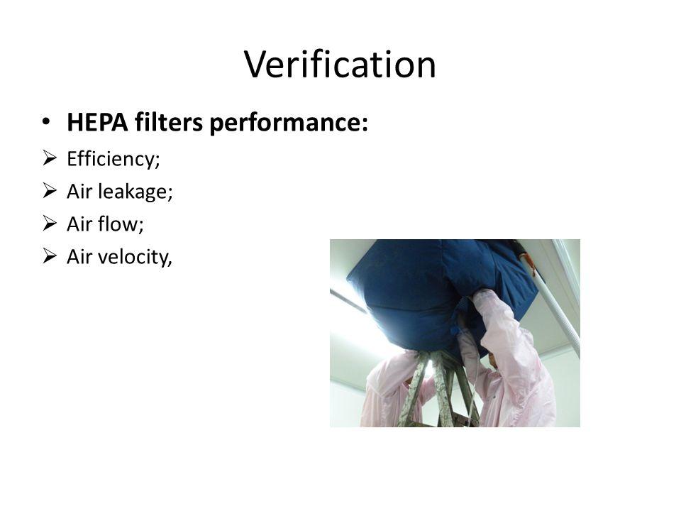 Verification HEPA filters performance:  Efficiency;  Air leakage;  Air flow;  Air velocity,