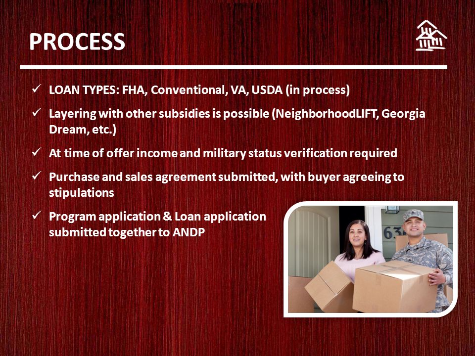 PROCESS LOAN TYPES: FHA, Conventional, VA, USDA (in process) Layering with other subsidies is possible (NeighborhoodLIFT, Georgia Dream, etc.) At time of offer income and military status verification required Purchase and sales agreement submitted, with buyer agreeing to stipulations Program application & Loan application submitted together to ANDP