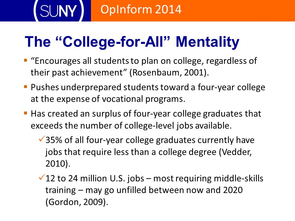 """OpInform 2014 The """"College-for-All"""" Mentality  """"Encourages all students to plan on college, regardless of their past achievement"""" (Rosenbaum, 2001)."""