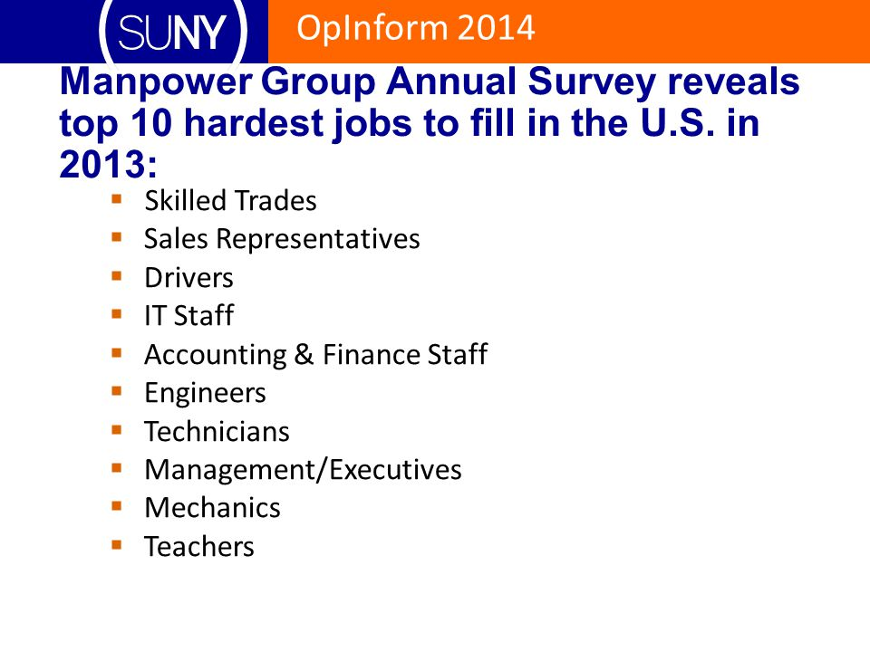 OpInform 2014 Manpower Group Annual Survey reveals top 10 hardest jobs to fill in the U.S. in 2013:  Skilled Trades  Sales Representatives  Drivers