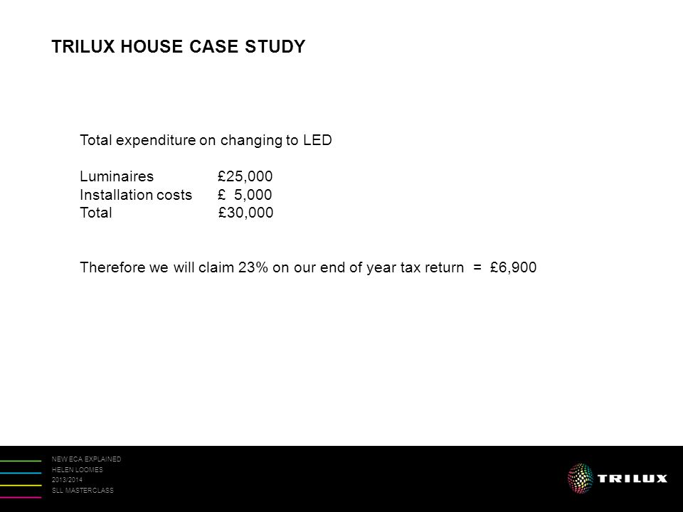 NEW ECA EXPLAINED HELEN LOOMES 2013/2014 SLL MASTERCLASS TRILUX HOUSE CASE STUDY Total expenditure on changing to LED Luminaires £25,000 Installation costs £ 5,000 Total £30,000 Therefore we will claim 23% on our end of year tax return = £6,900