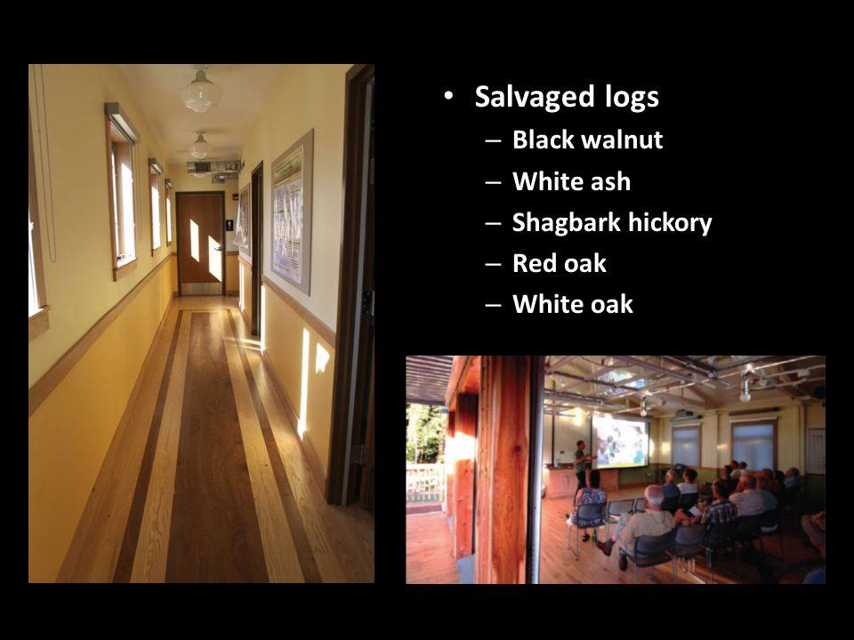 Salvaged logs – Black walnut – White ash – Shagbark hickory – Red oak – White oak