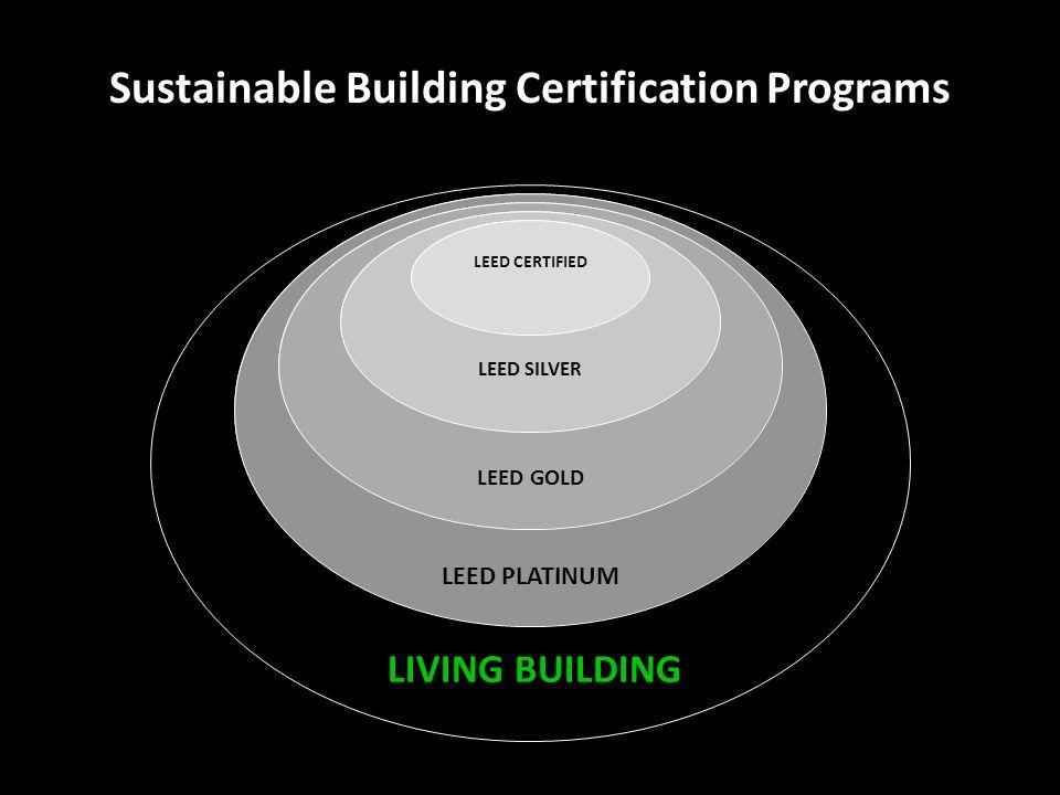 Sustainable Building Certification Programs LIVING BUILDING LEED CERTIFIED LEED SILVER LEED GOLD LEED PLATINUM