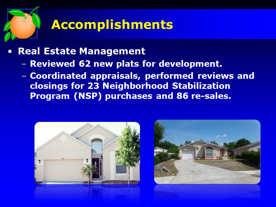 Real Estate Management –Reviewed 62 new plats for development.