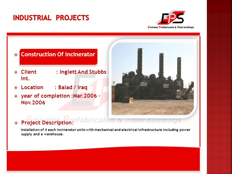  Construction Of Incinerator  Client : Inglett And Stubbs Int.