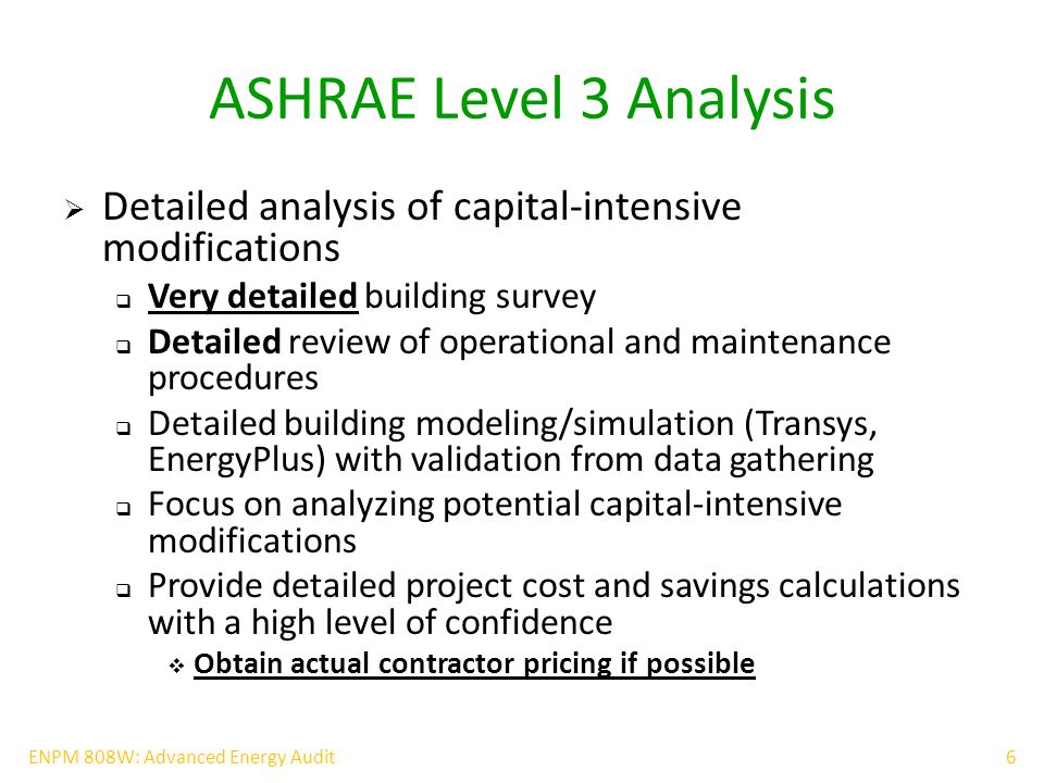17ENPM 808W: Advanced Energy Audit Energy Star Portfolio Manager for energy benchmarking  Free benchmarking tool by EPA and DOE  Interactive energy management tool that allows tracking and assessing energy and water consumption  Manage Energy and Water Consumption for all Buildings  Rate Building Energy Performance  Estimate Carbon Footprint  Set Investment Priorities  Verify and Track Progress of Improvement Projects  Gain EPA Recognition  Improve property value => High profile tenants