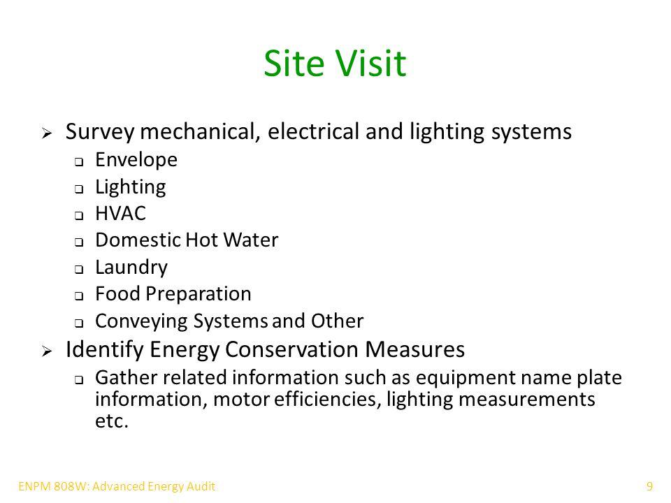 20ENPM 808W: Advanced Energy Audit