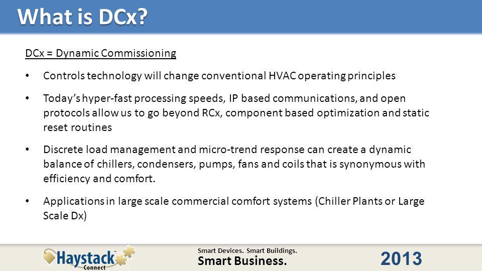 Smart Devices. Smart Buildings. Smart Business. 2013 What is DCx.