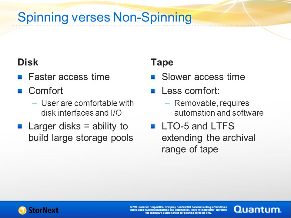 Spinning verses Non-Spinning Disk Faster access time Comfort –User are comfortable with disk interfaces and I/O Larger disks = ability to build large storage pools Tape Slower access time Less comfort: –Removable, requires automation and software LTO-5 and LTFS extending the archival range of tape © 2010 Quantum Corporation.