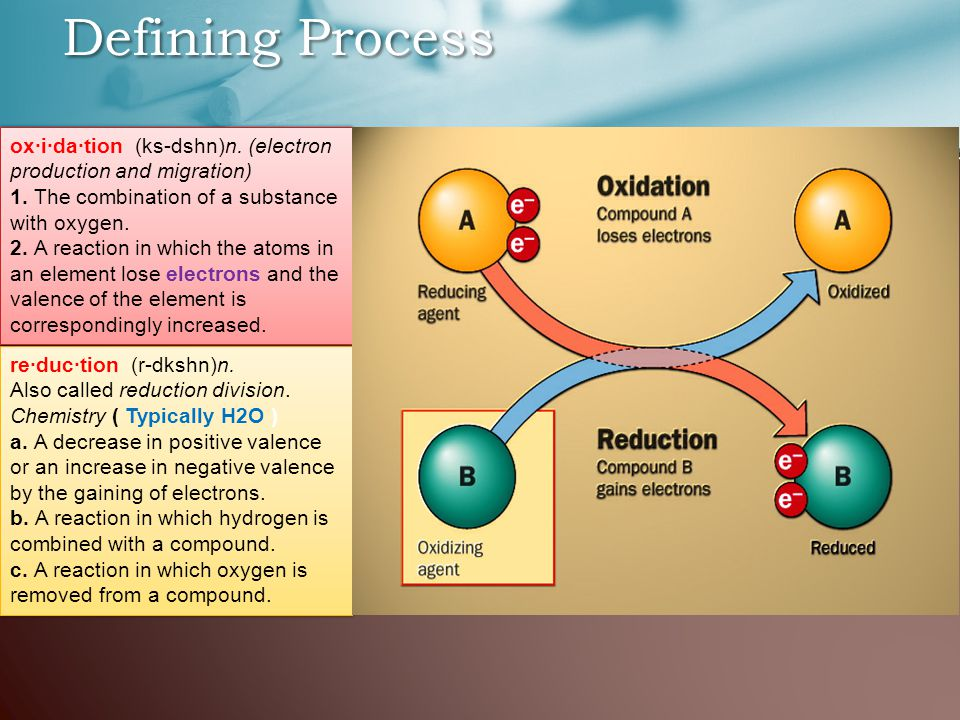 Defining Process re·duc·tion (r-dkshn)n. Also called reduction division.
