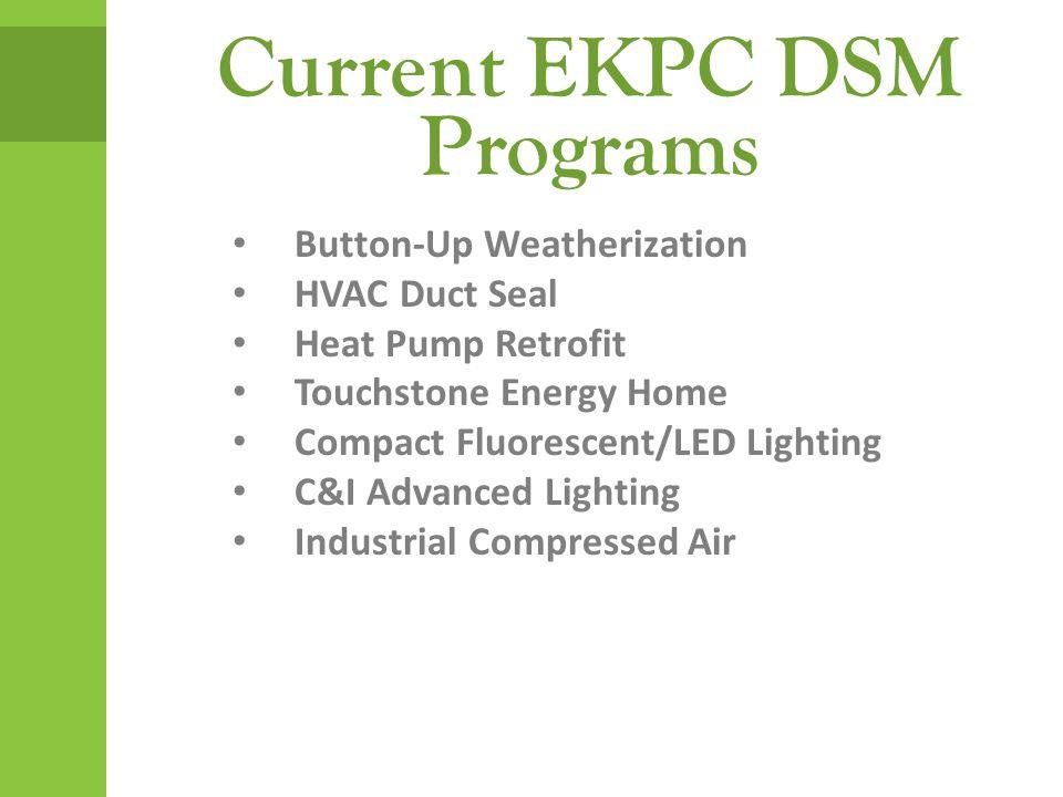 Current EKPC DSM Programs Button-Up Weatherization HVAC Duct Seal Heat Pump Retrofit Touchstone Energy Home Compact Fluorescent/LED Lighting C&I Advanced Lighting Industrial Compressed Air