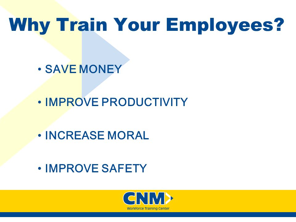 Why Train Your Employees? SAVE MONEY IMPROVE PRODUCTIVITY INCREASE MORAL IMPROVE SAFETY