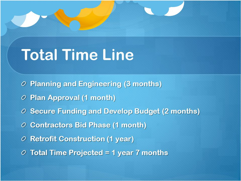 Total Time Line Planning and Engineering (3 months) Plan Approval (1 month) Secure Funding and Develop Budget (2 months) Contractors Bid Phase (1 month) Retrofit Construction (1 year) Total Time Projected = 1 year 7 months