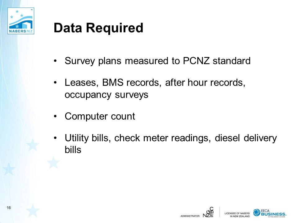 Data Required Survey plans measured to PCNZ standard Leases, BMS records, after hour records, occupancy surveys Computer count Utility bills, check me