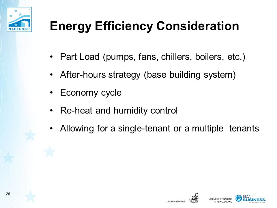 Energy Efficiency Consideration Part Load (pumps, fans, chillers, boilers, etc.) After-hours strategy (base building system) Economy cycle Re-heat and humidity control Allowing for a single-tenant or a multiple tenants 20
