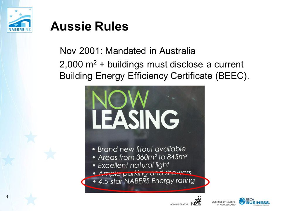 Aussie Rules Nov 2001: Mandated in Australia 2,000 m 2 + buildings must disclose a current Building Energy Efficiency Certificate (BEEC).