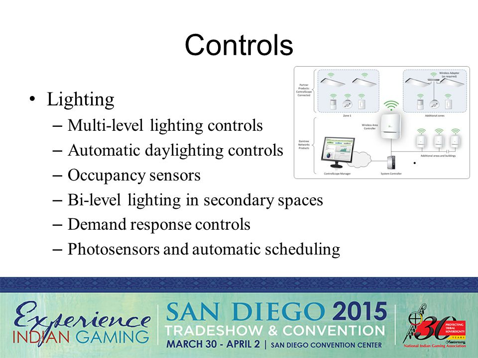 Controls Lighting – Multi-level lighting controls – Automatic daylighting controls – Occupancy sensors – Bi-level lighting in secondary spaces – Demand response controls – Photosensors and automatic scheduling