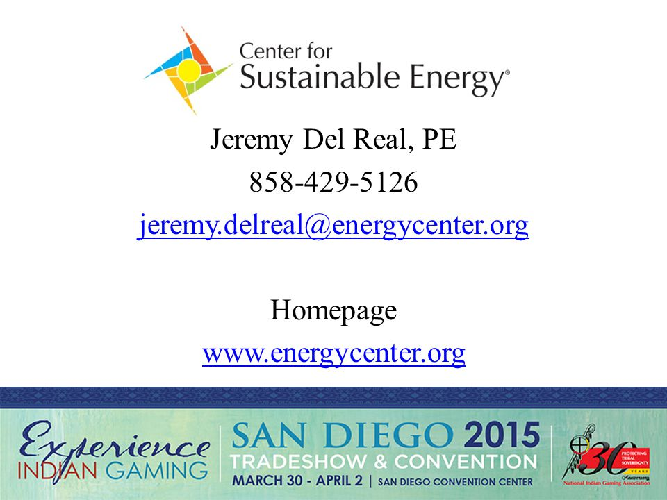 Jeremy Del Real, PE 858-429-5126 jeremy.delreal@energycenter.org Homepage www.energycenter.org