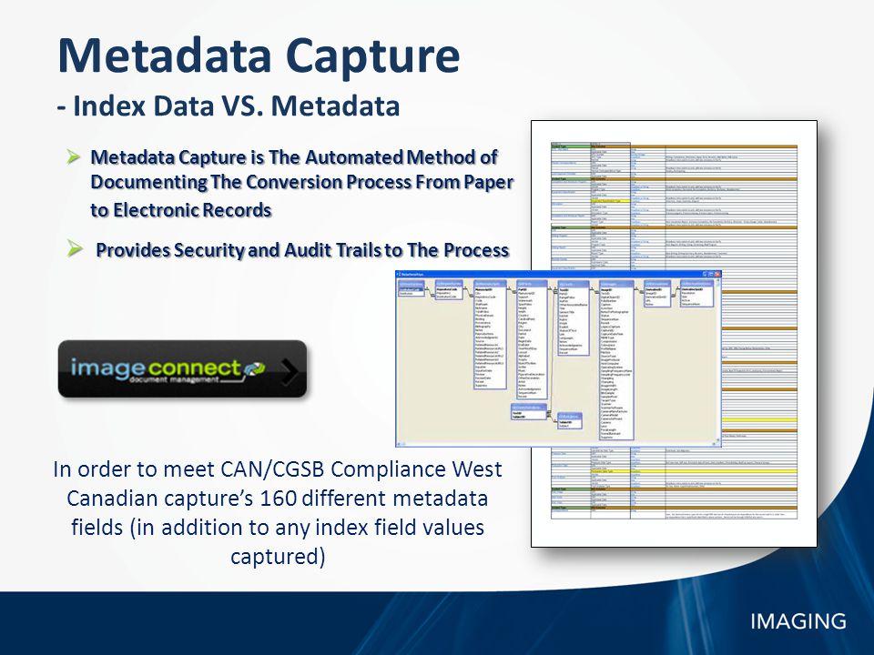 Metadata Capture - Index Data VS.