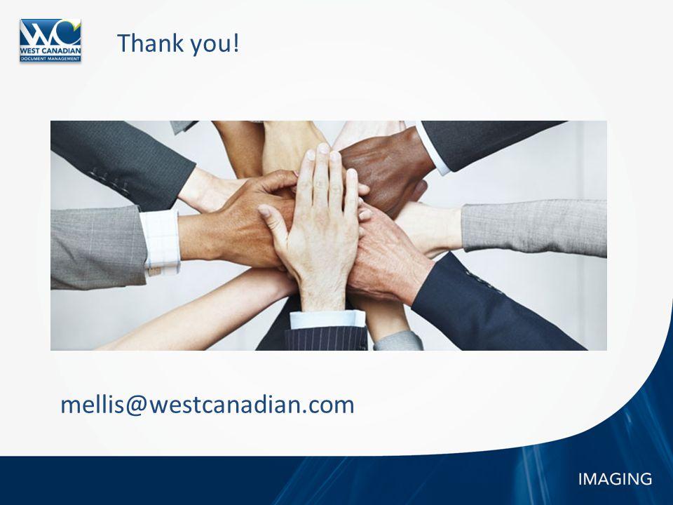 Thank you! mellis@westcanadian.com