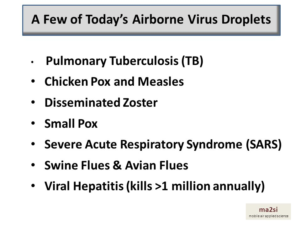Pulmonary Tuberculosis (TB) Chicken Pox and Measles Disseminated Zoster Small Pox Severe Acute Respiratory Syndrome (SARS) Swine Flues & Avian Flues V