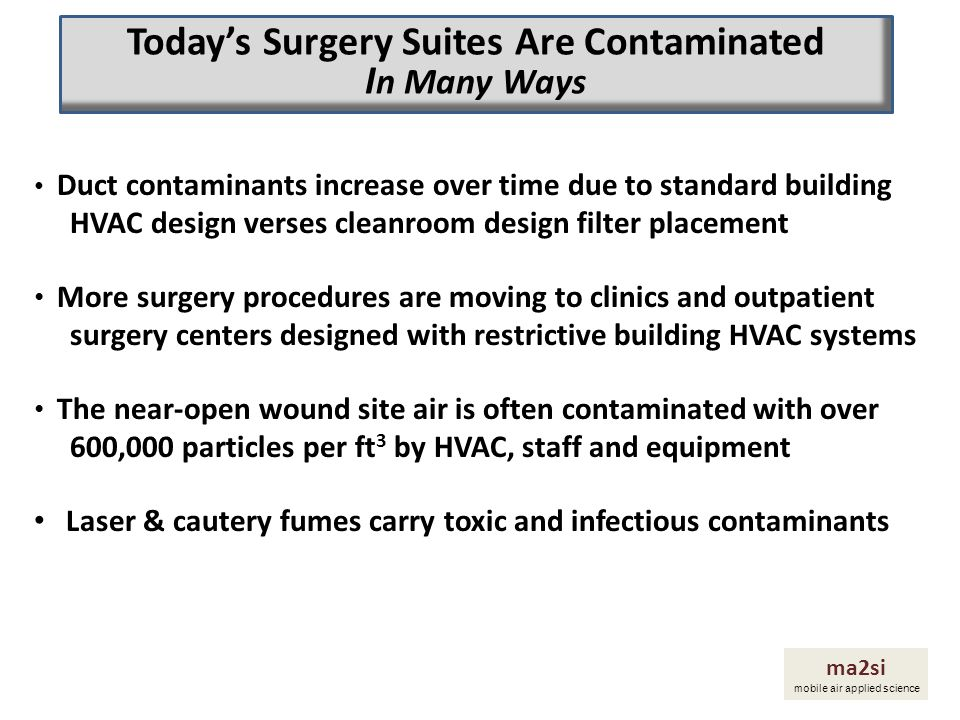 Remove the invisible airborne pathogens/contaminants that contribute to the high infection rates Create cleaner patient and staff environments transparently and targeted when and where needed Reduce the infection incidence and resulting cost of hospital acquired infections from air contribution Decrease patient suffering and high cost of treatment Introduce Focused Clean Air Zone applications ma2si mobile air applied science How Do We Change This Picture and What Are the Results?