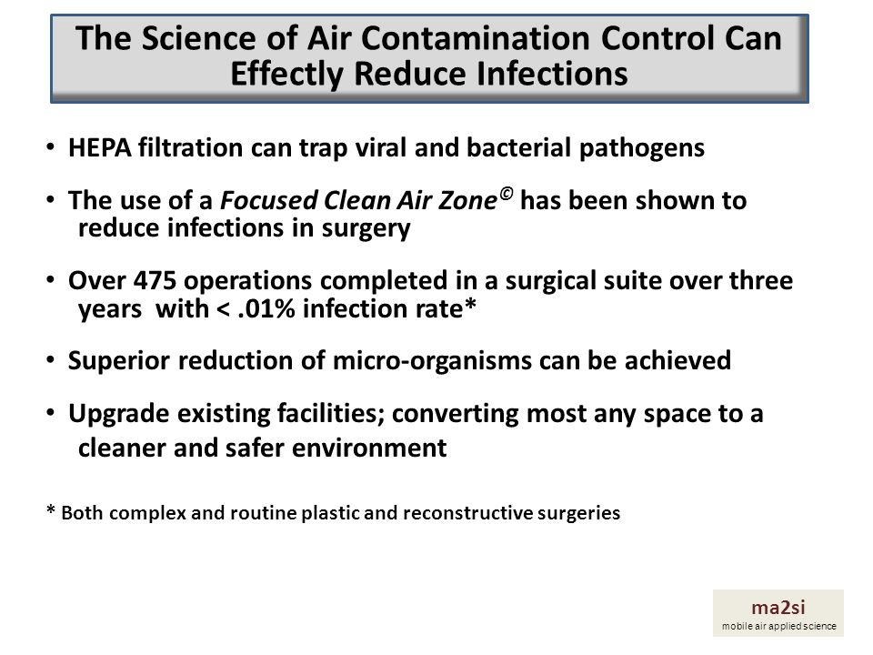 HEPA filtration can trap viral and bacterial pathogens The use of a Focused Clean Air Zone © has been shown to reduce infections in surgery Over 475 o