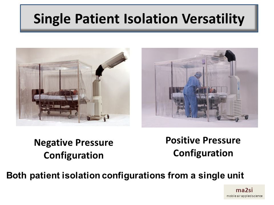 The mobile M100 adapts to the patient isolation system to provide either a positive pressure (PP) or a negative pressure (NP) Isolation chamber unit ma2si mobile air applied science How Does A Single Patient Isolation System Work?