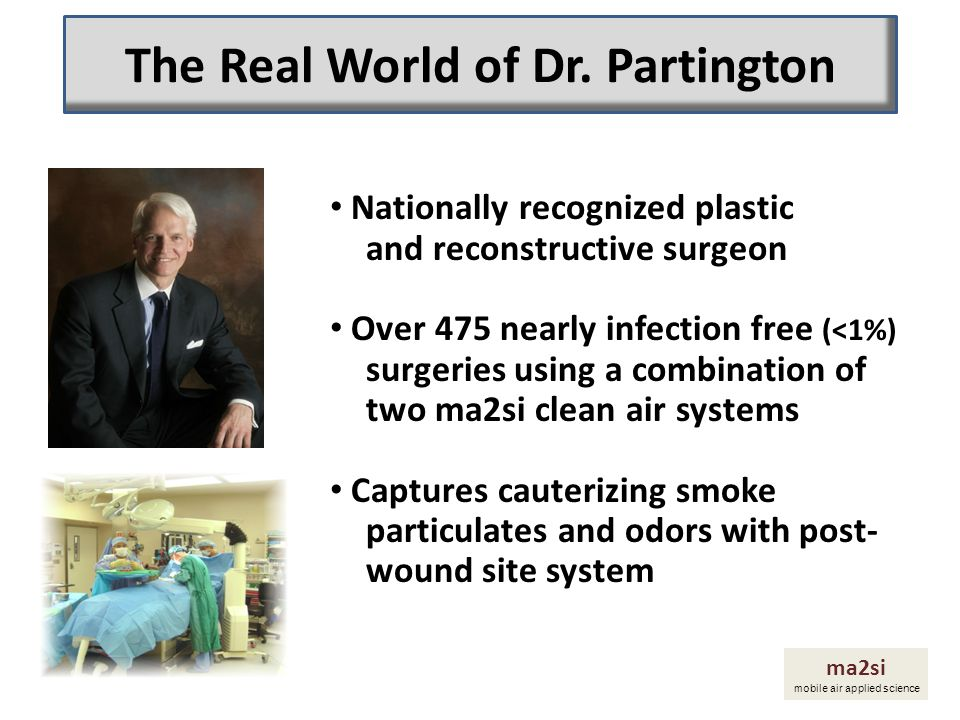 Nationally recognized plastic and reconstructive surgeon Over 475 nearly infection free (<1%) surgeries using a combination of two ma2si clean air sys