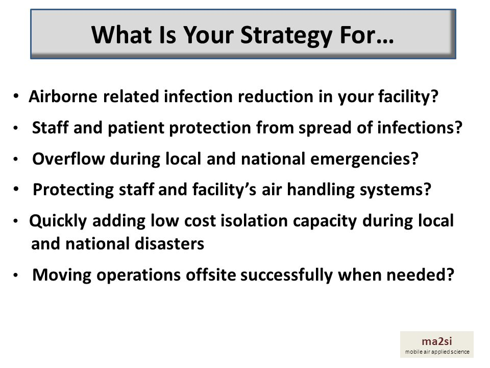 Airborne related infection reduction in your facility? Staff and patient protection from spread of infections? Overflow during local and national emer