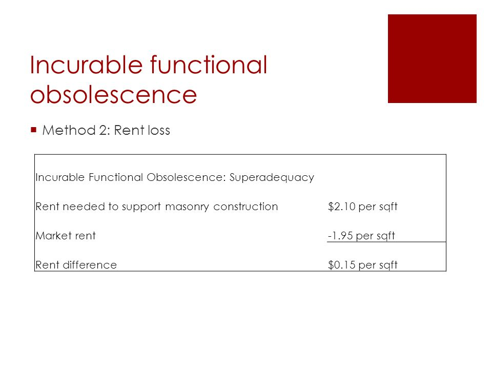 Incurable functional obsolescence  Method 2: Rent loss Incurable Functional Obsolescence: Superadequacy Rent needed to support masonry construction$2