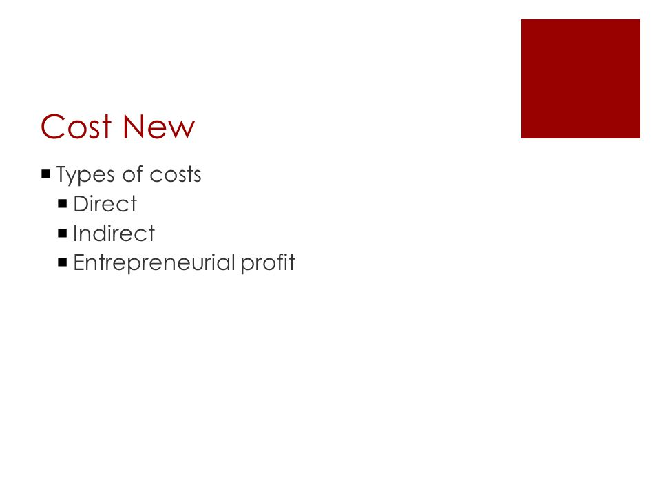 Cost New  Types of costs  Direct  Indirect  Entrepreneurial profit