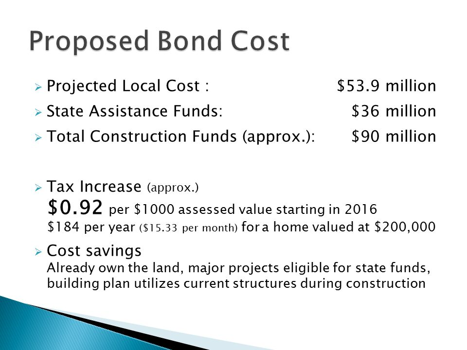  Projected Local Cost :$53.9 million  State Assistance Funds:$36 million  Total Construction Funds (approx.):$90 million  Tax Increase (approx.) $