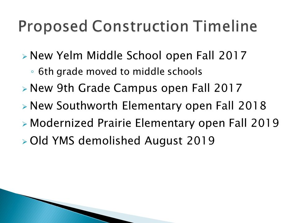  New Yelm Middle School open Fall 2017 ◦ 6th grade moved to middle schools  New 9th Grade Campus open Fall 2017  New Southworth Elementary open Fall 2018  Modernized Prairie Elementary open Fall 2019  Old YMS demolished August 2019