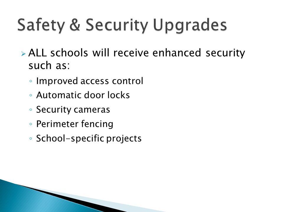  ALL schools will receive enhanced security such as: ◦ Improved access control ◦ Automatic door locks ◦ Security cameras ◦ Perimeter fencing ◦ School