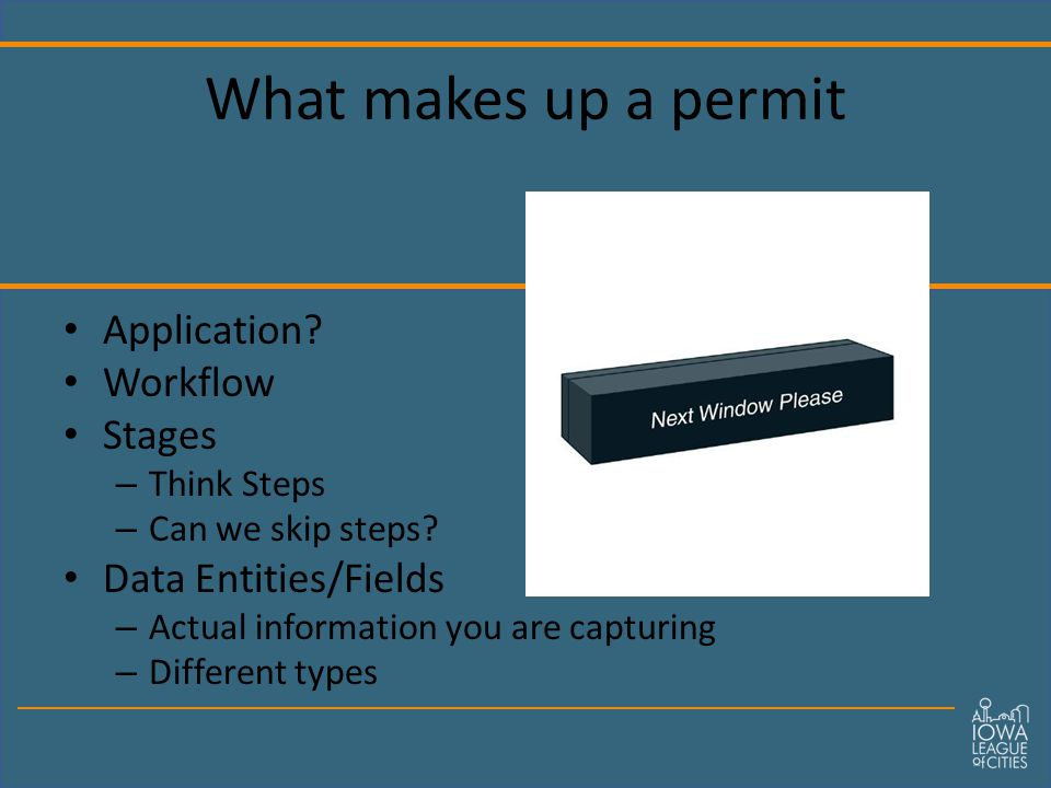 What makes up a permit Application. Workflow Stages – Think Steps – Can we skip steps.
