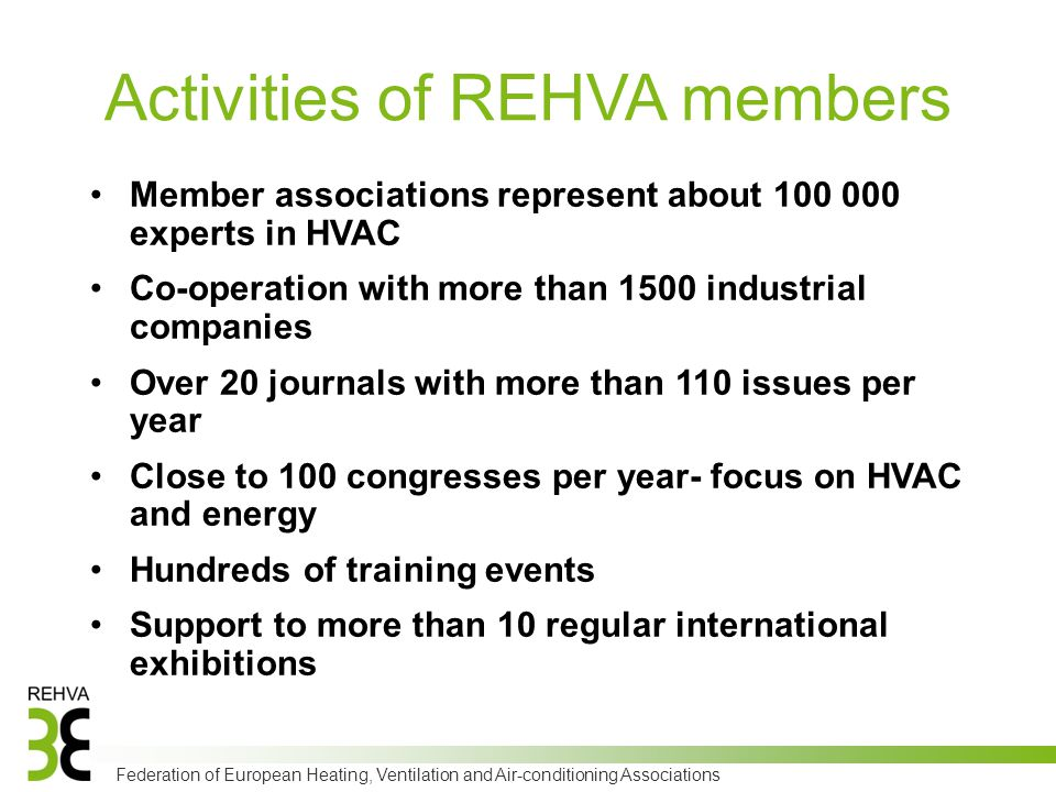 Federation of European Heating, Ventilation and Air-conditioning Associations Activities of REHVA members Member associations represent about 100 000 experts in HVAC Co-operation with more than 1500 industrial companies Over 20 journals with more than 110 issues per year Close to 100 congresses per year- focus on HVAC and energy Hundreds of training events Support to more than 10 regular international exhibitions